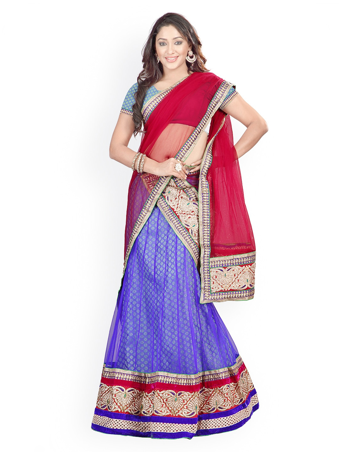 Florence Blue & Red Net & Brasso Semi-Stitched Lehenga Choli Material with Dupatta