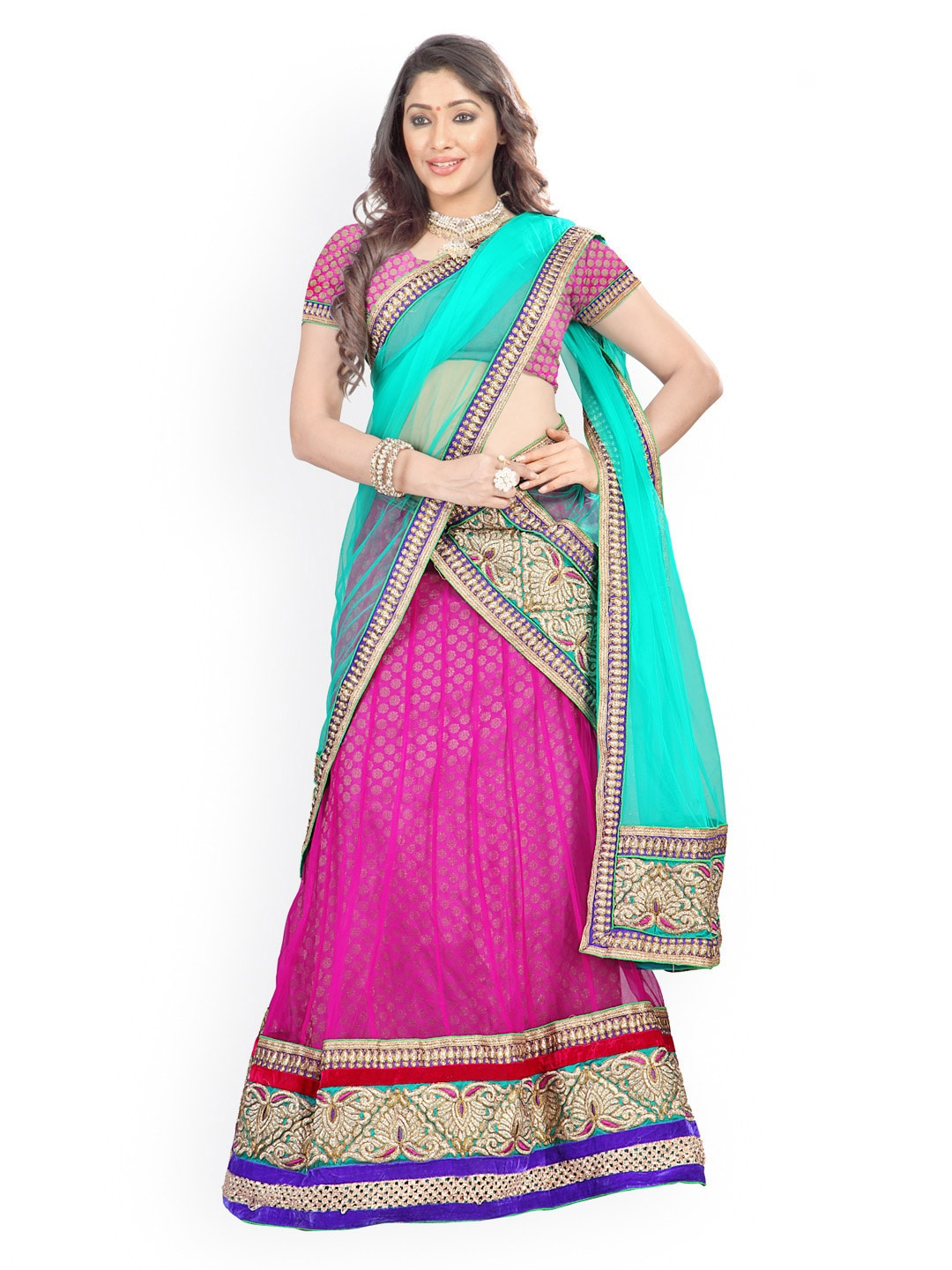 Florence Pink & Green Semi-Stitched Brasso Net Lehenga Choli with Dupatta