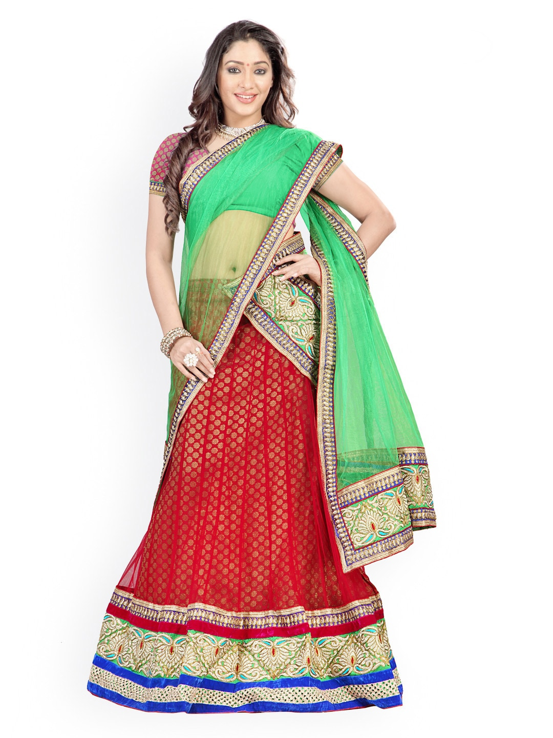 Florence Red & Pink Semi-Stitched Brasso Net Lehenga Choli with Dupatta