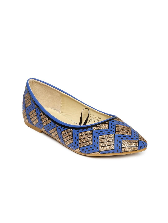DressBerry Women Blue & Gold-Toned Flat Shoes