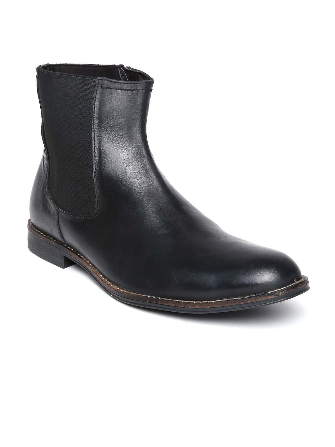 Delize Men Black Leather Boots