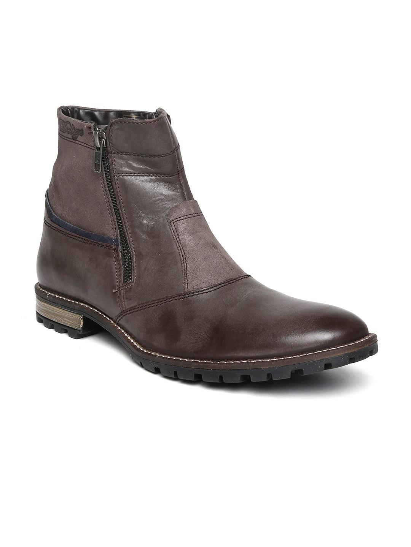 Delize Men Brown Leather Boots