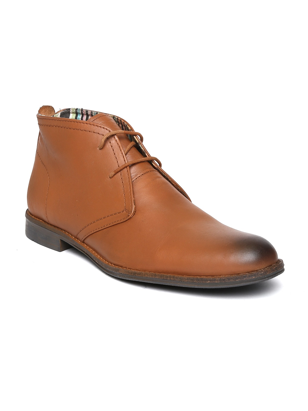Delize Men Tan Brown Leather Formal Shoes