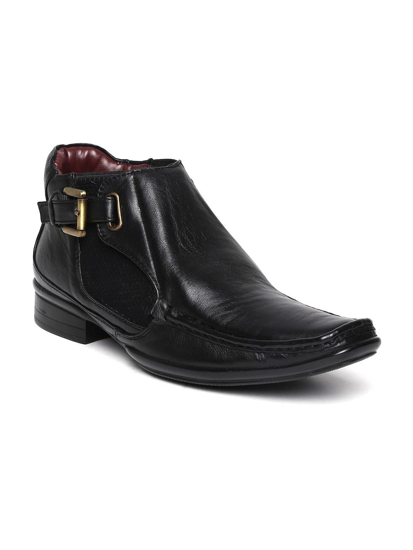 Delize Men Black Leather Semiformal Shoes