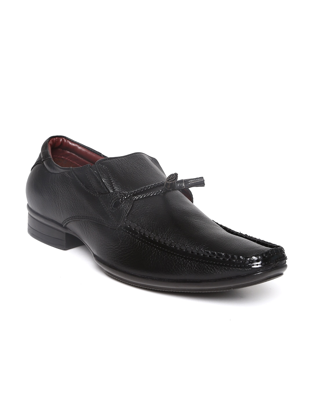 Delize Men Black Leather Semiformal Shoes