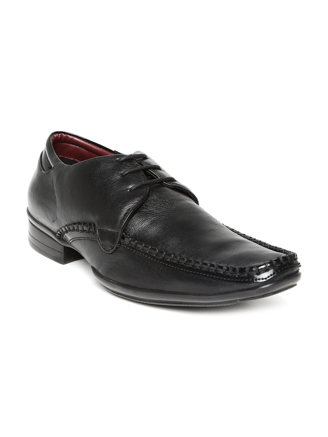 Delize Men Black Leather Formal Shoes