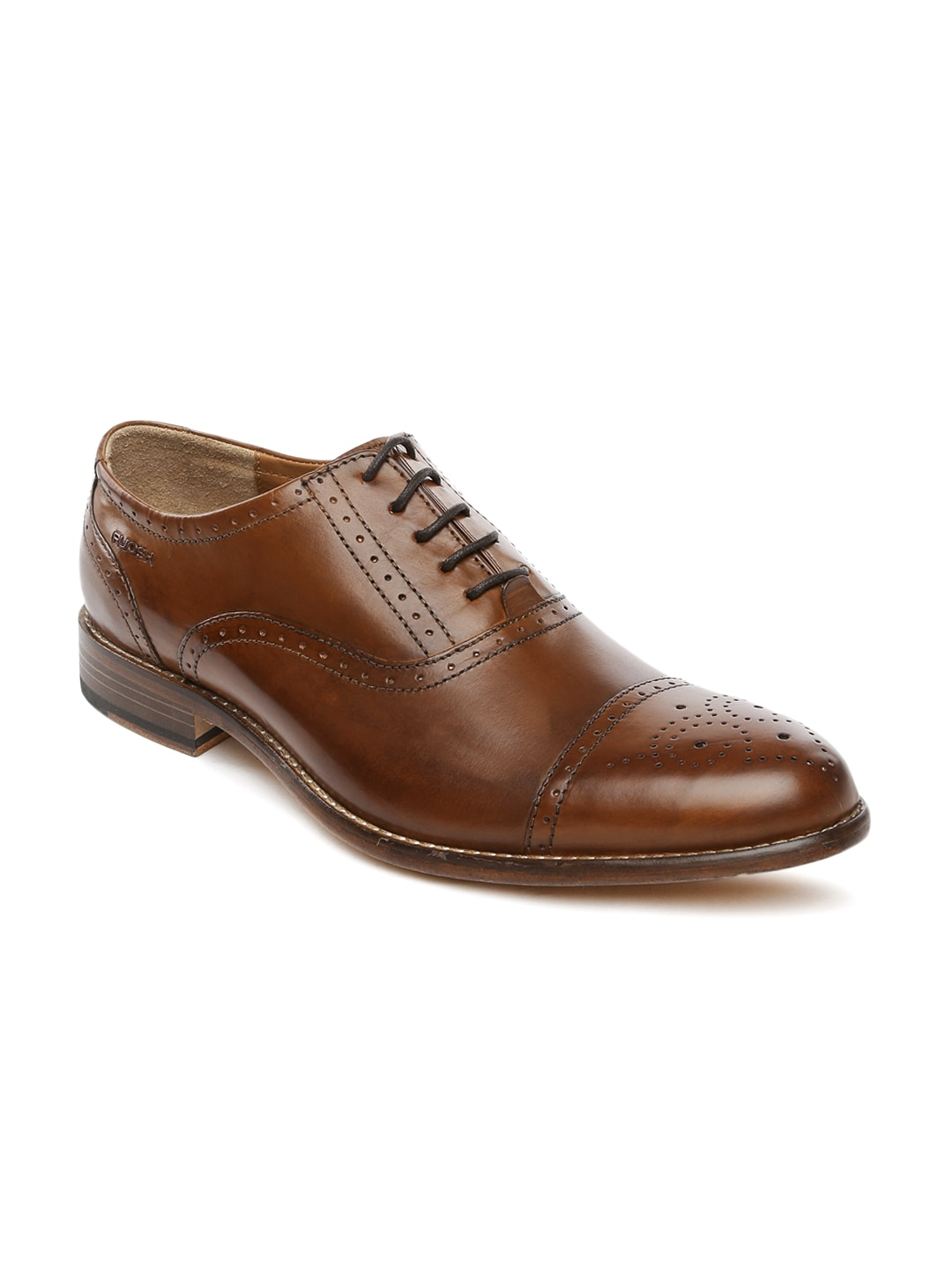 Ruosh Work Men Brown Leather Classic Oxford Shoes