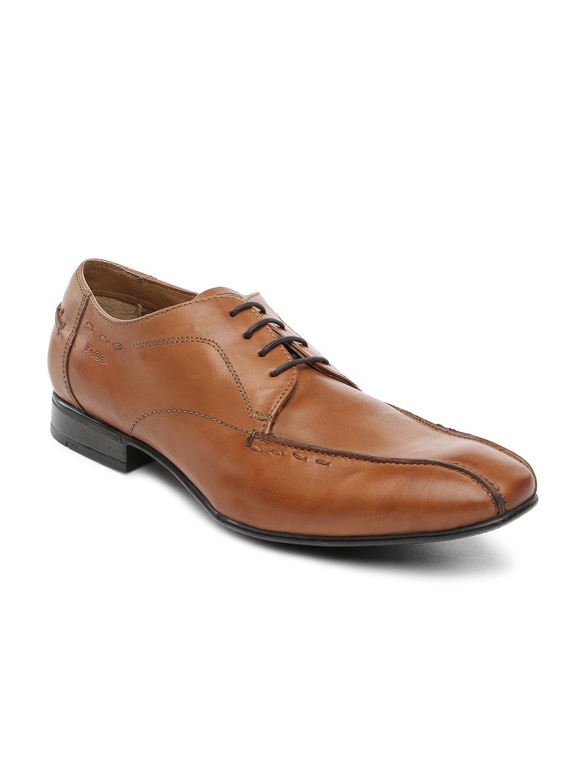 Ruosh Work Men Tan Brown Leather Semiformal Shoes