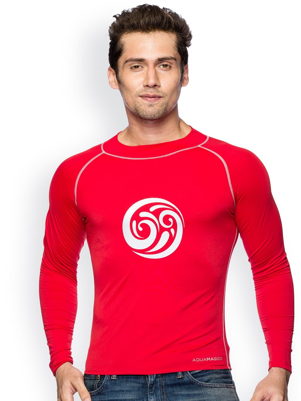 Imagica Men Red Rash Guard T-shirt