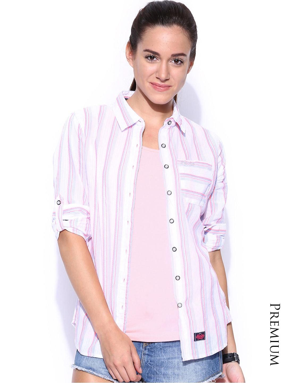 Superdry Women White Striped Lurex Emmanuelle Casual Shirt