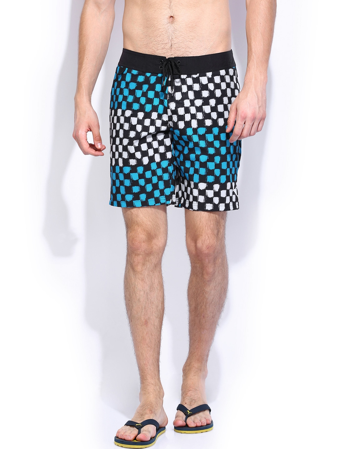 PUMA Men Black & White Printed Check Board Shorts