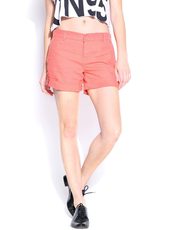 Calvin Klein Jeans Women Coral Pink Linen Shorts