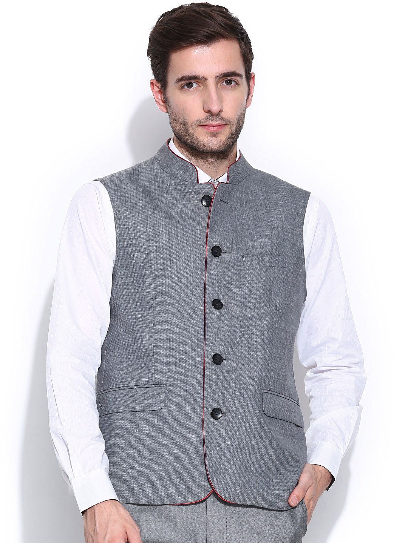 Allen Solly Men Grey Nehru Jacket