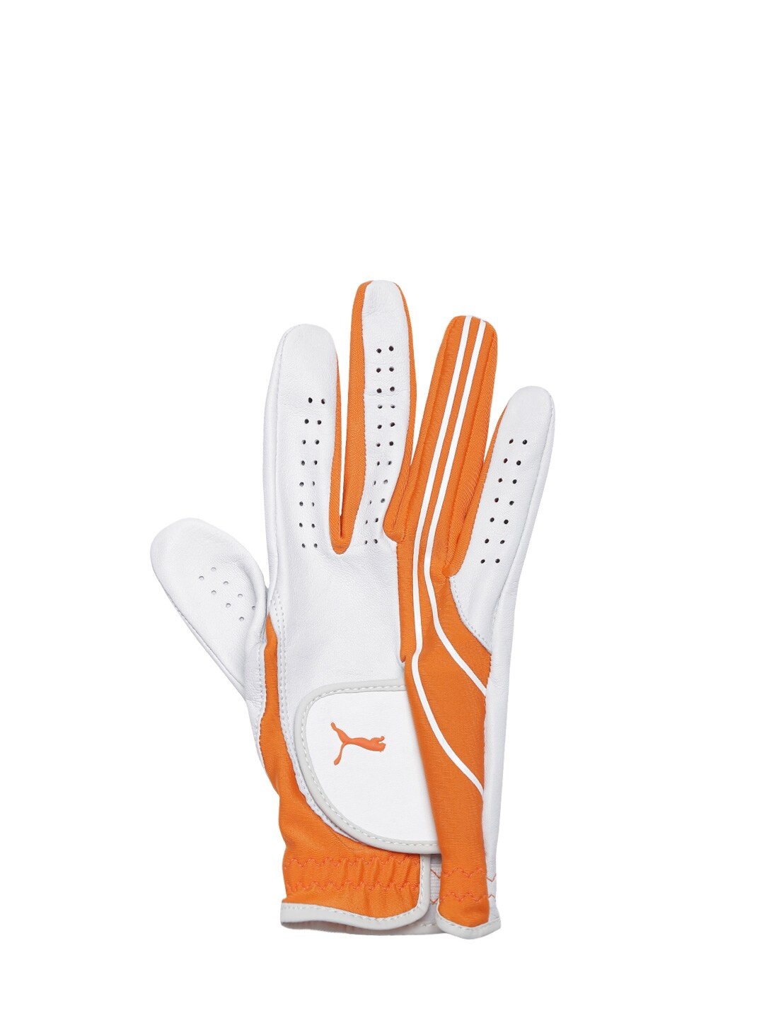 PUMA Men White & Orange Form Stripe Perform Vibrant RH Glove