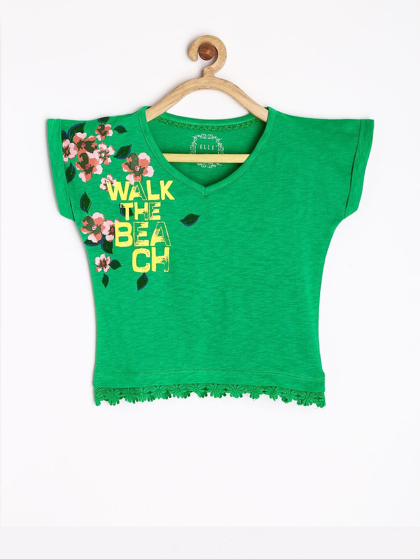Elle Kids Girls Green Printed Creed Top