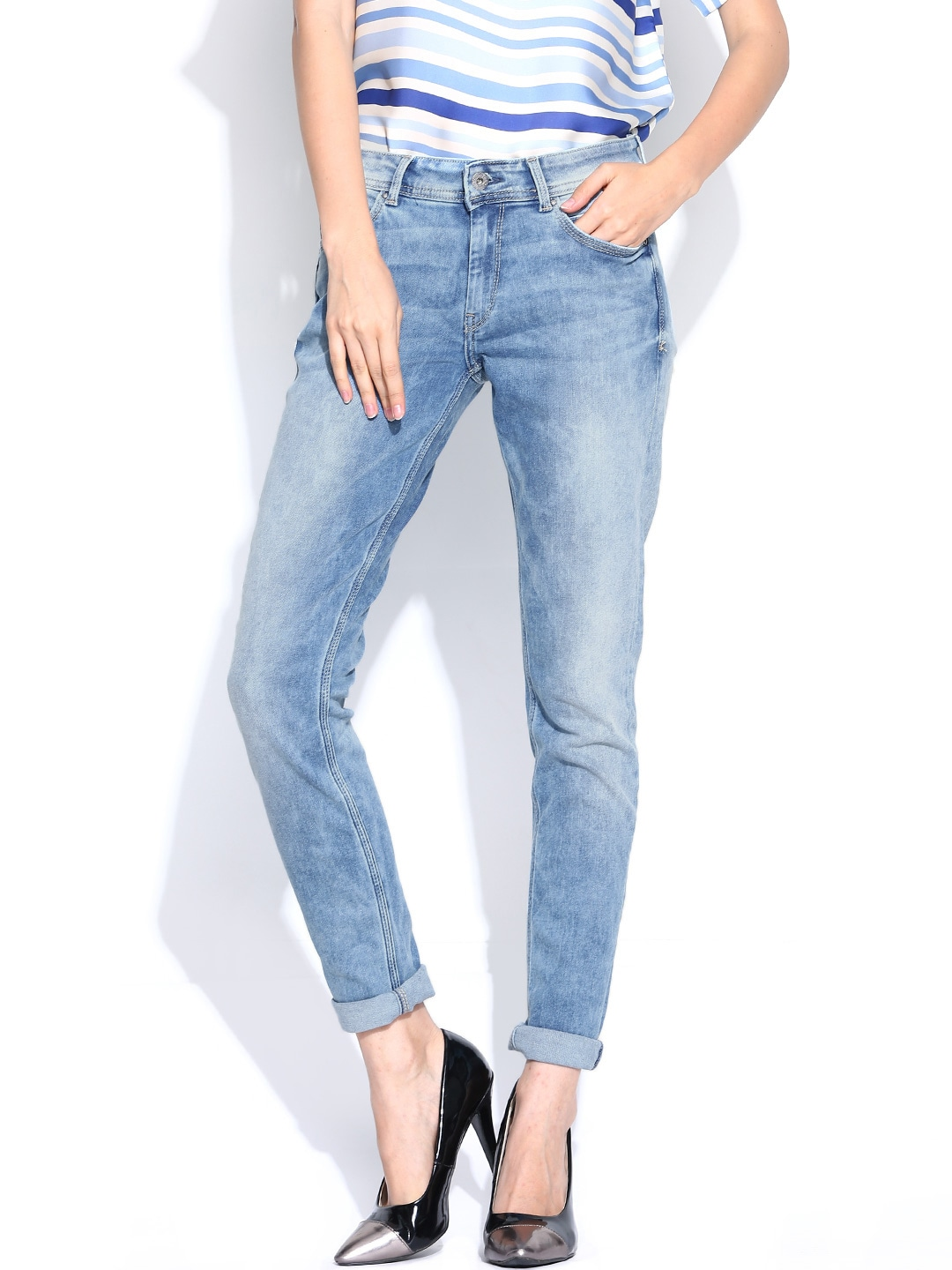 Buy Pepe Jeans Women Blue Lola Regular Fit Jeans - Jeans for Women ...