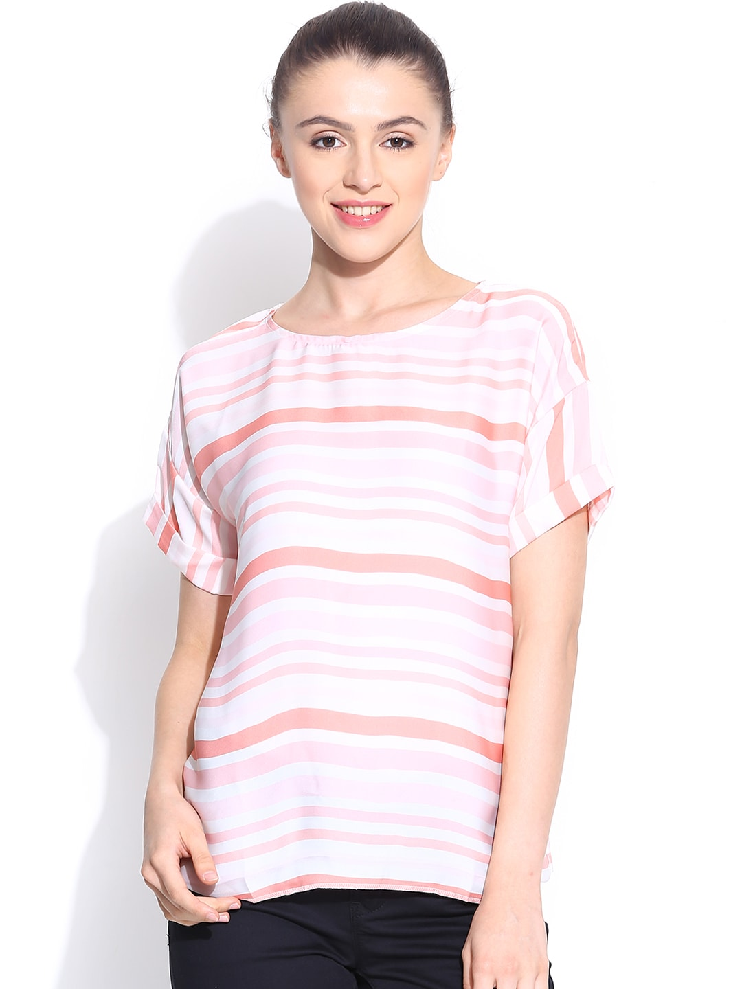 Pepe Jeans Women Off-White & Peach-Coloured Striped Top