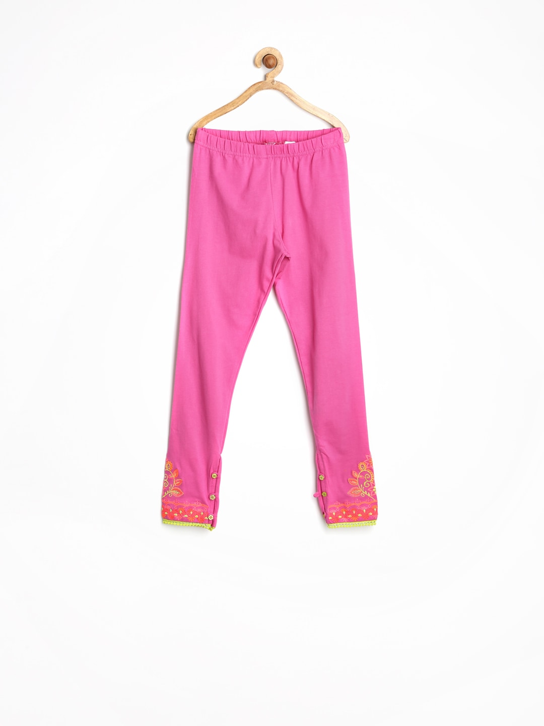 BIBA Girls Pink Churidar Leggings