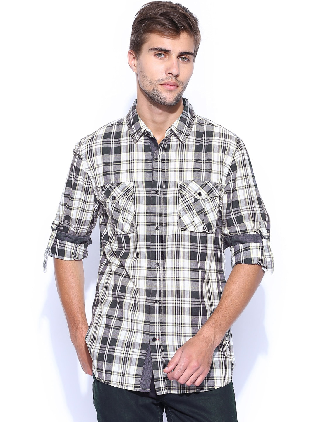 GUESS White & Grey Checked Slim Casual Shirt