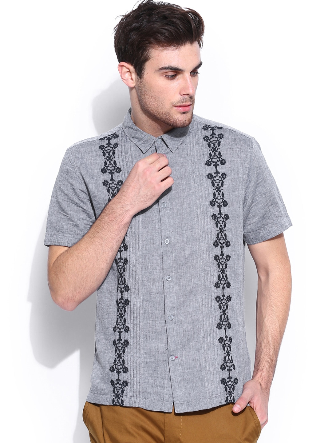 GUESS Grey Embroidered Linen Casual Shirt
