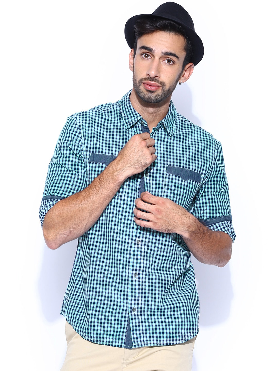 GUESS Green & Navy Checked Casual Shirt