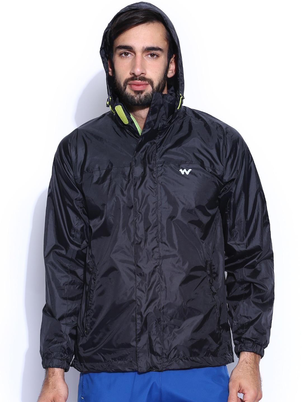 Wildcraft Black Hooded Rain Jacket
