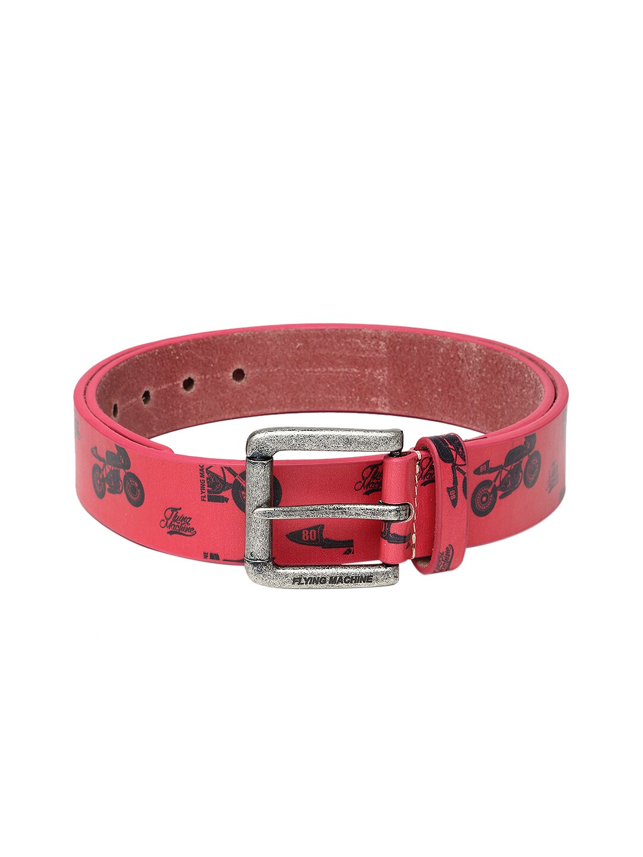 Flying Machine Men Pink Printed Leather Belt