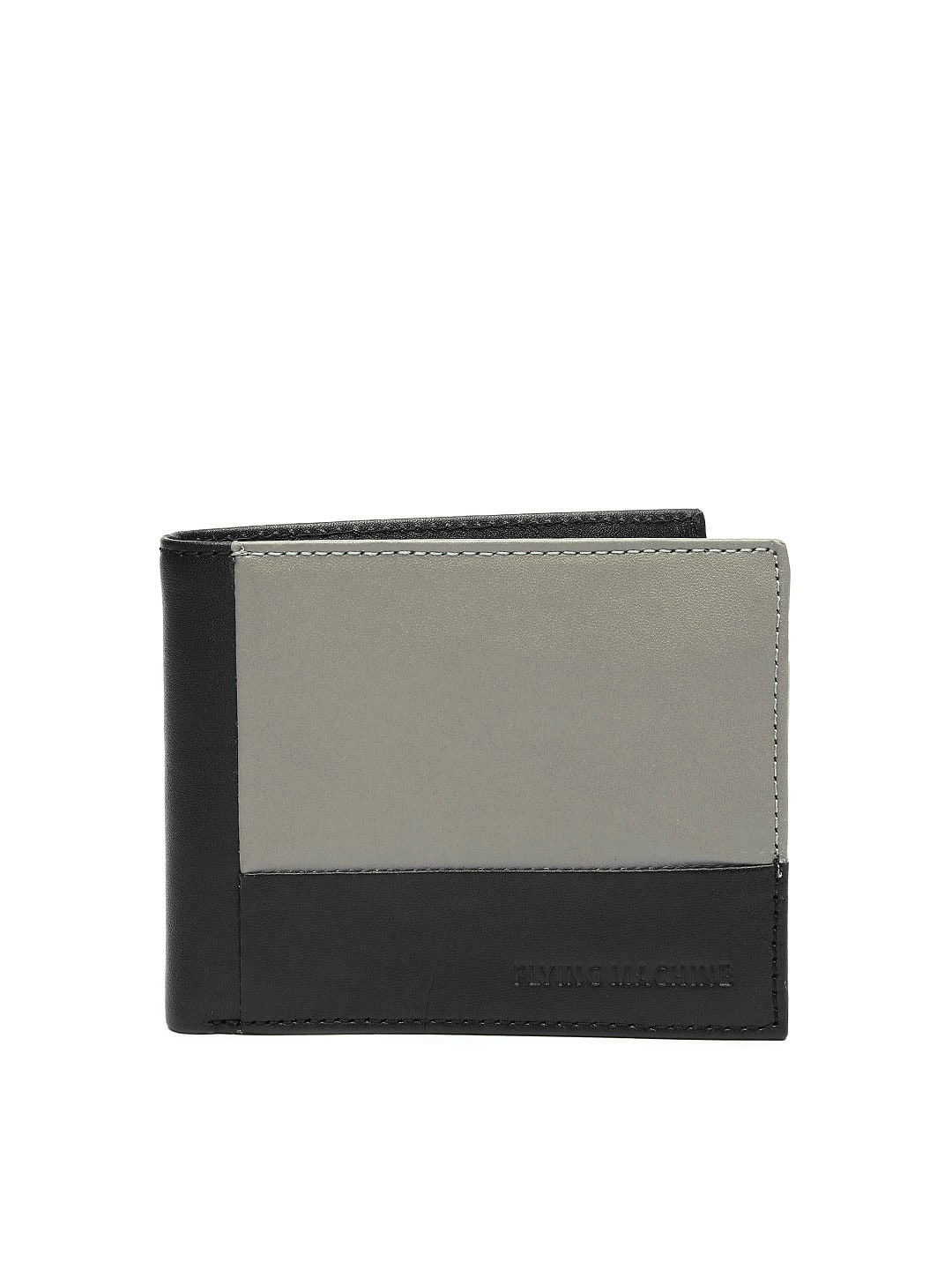 Flying Machine Men Black & Grey Leather Wallet