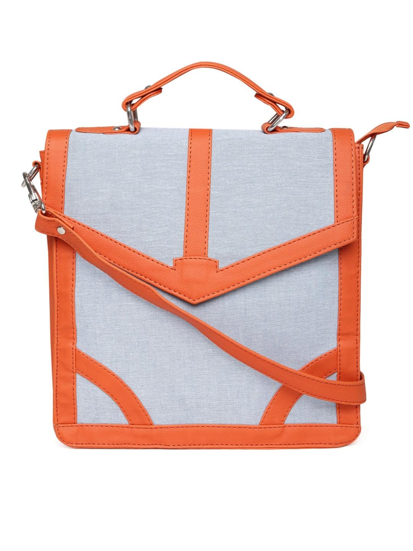 Borsavela Women Light Blue & Orange Satchel