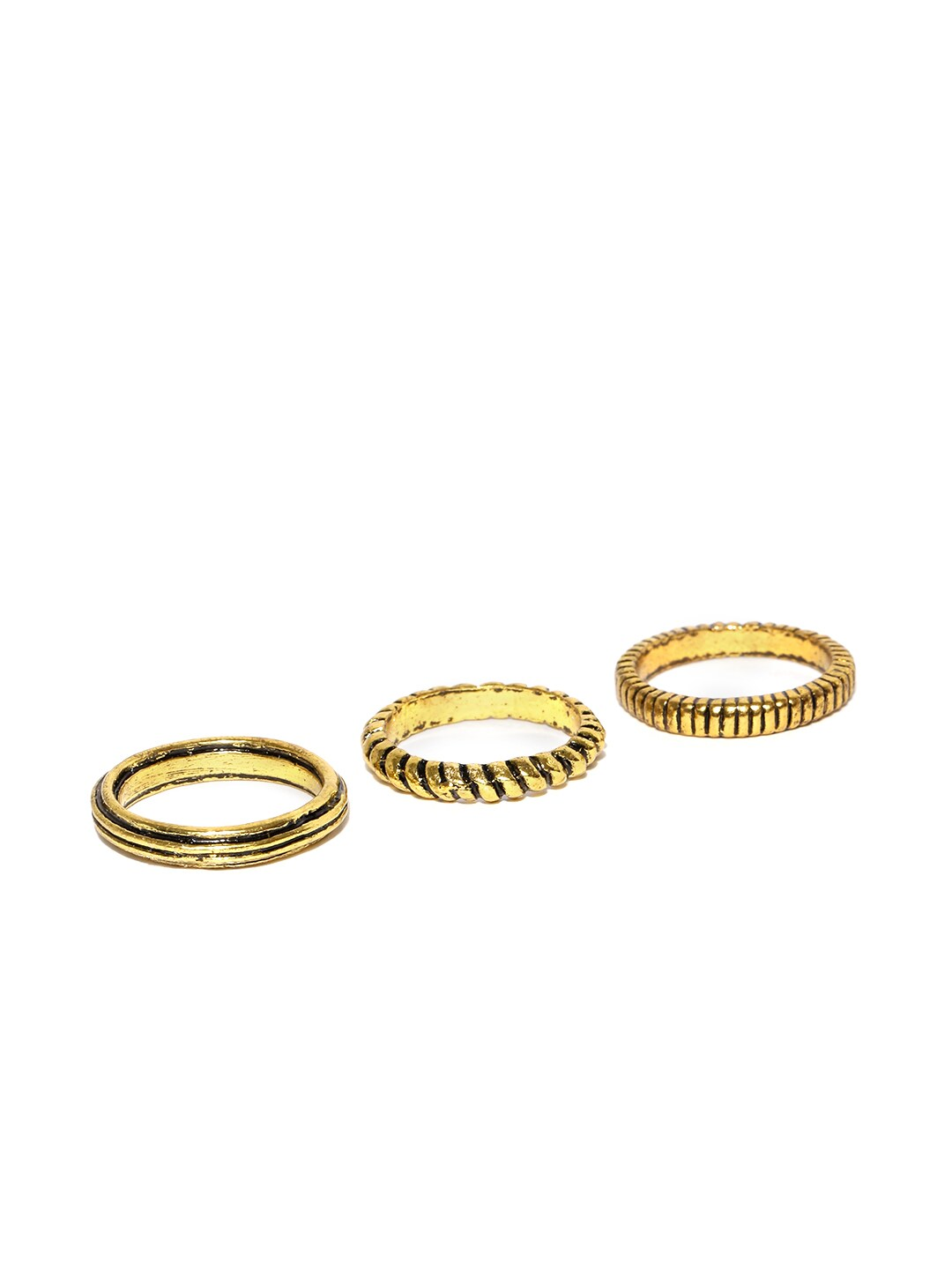 Parfois Set of 3 Gold-Toned Textured Rings