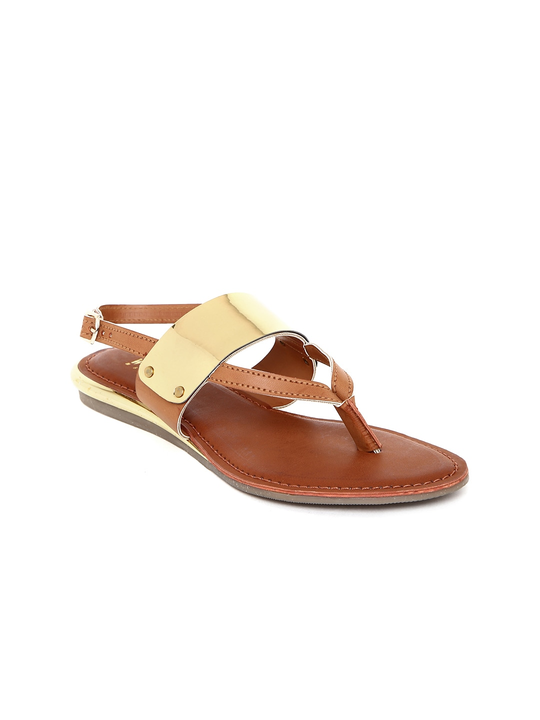 Wet Blue Women Tan Brown & Gold-Toned Sandals