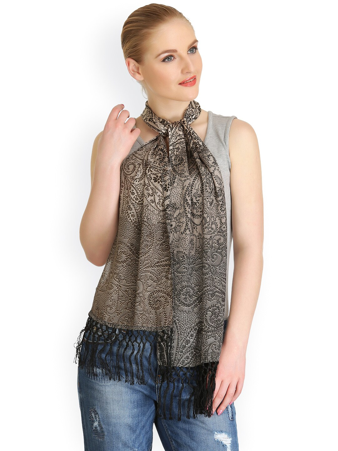 CoolThreads Women Grey Printed Stole