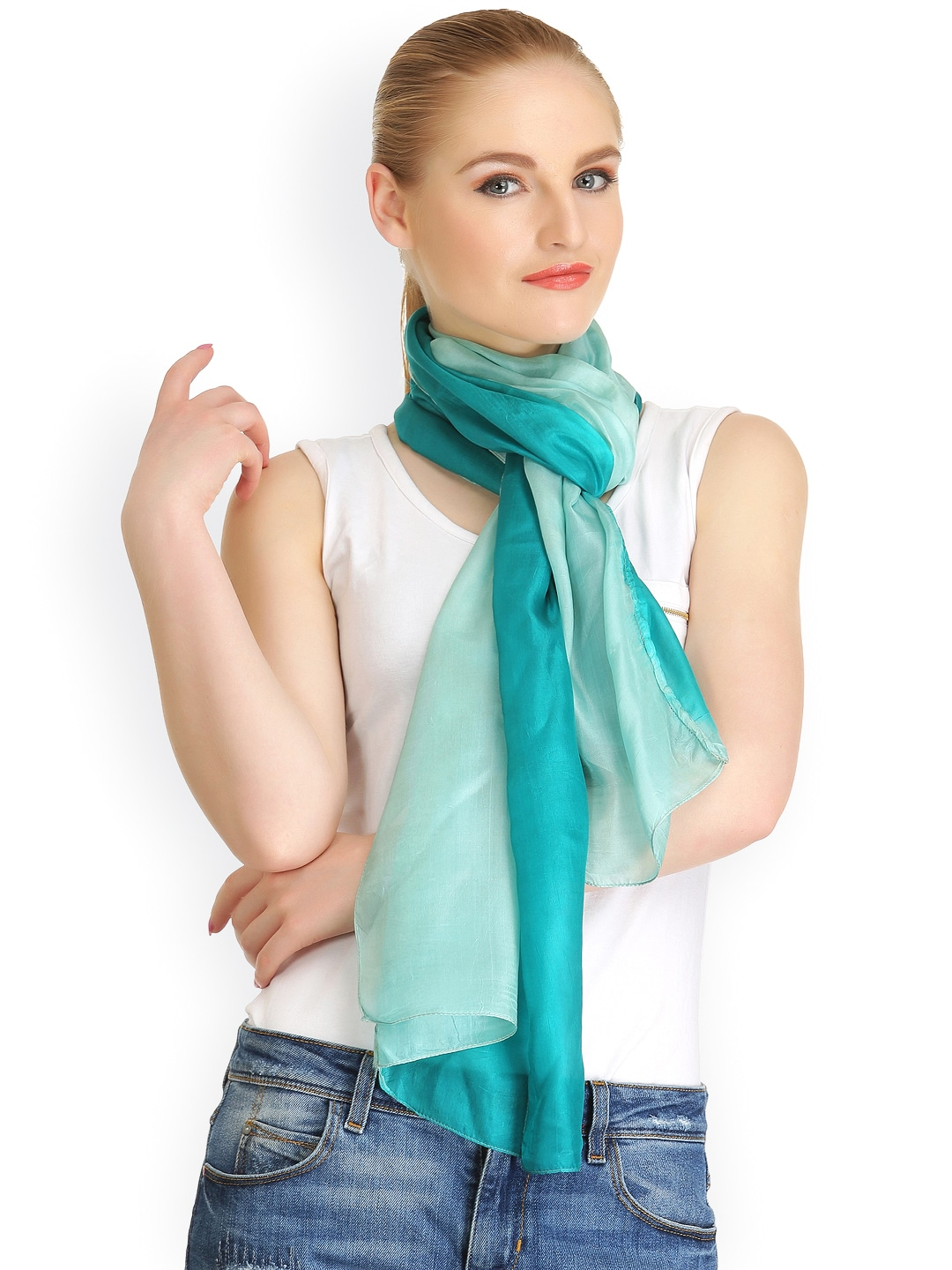 CoolThreads Women Green Ombre Silk Stole