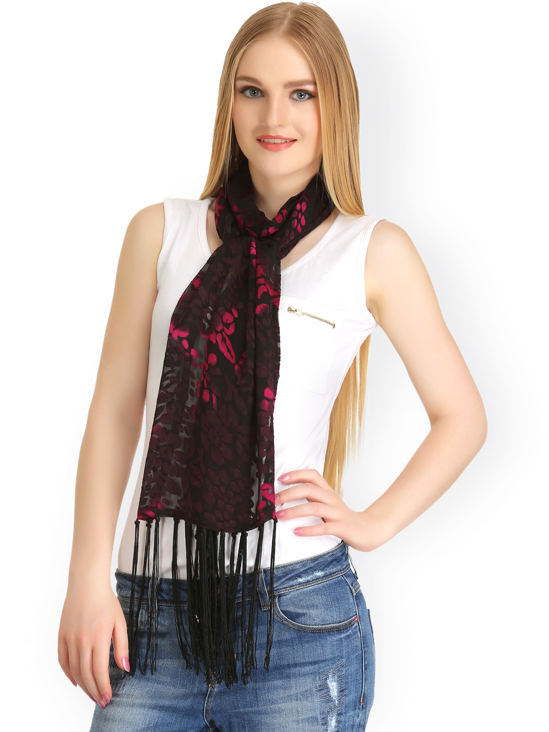 CoolThreads Black & Pink Flock Print Stole