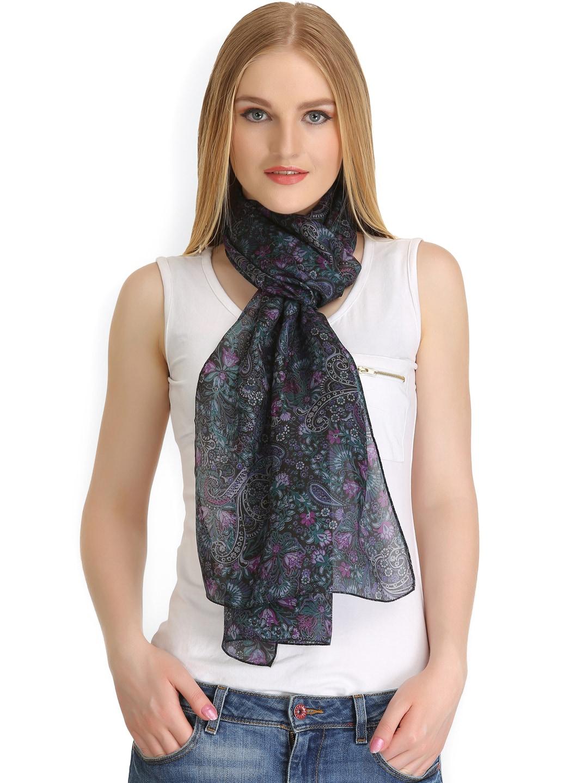 CoolThreads Black Floral Print Silk Stole
