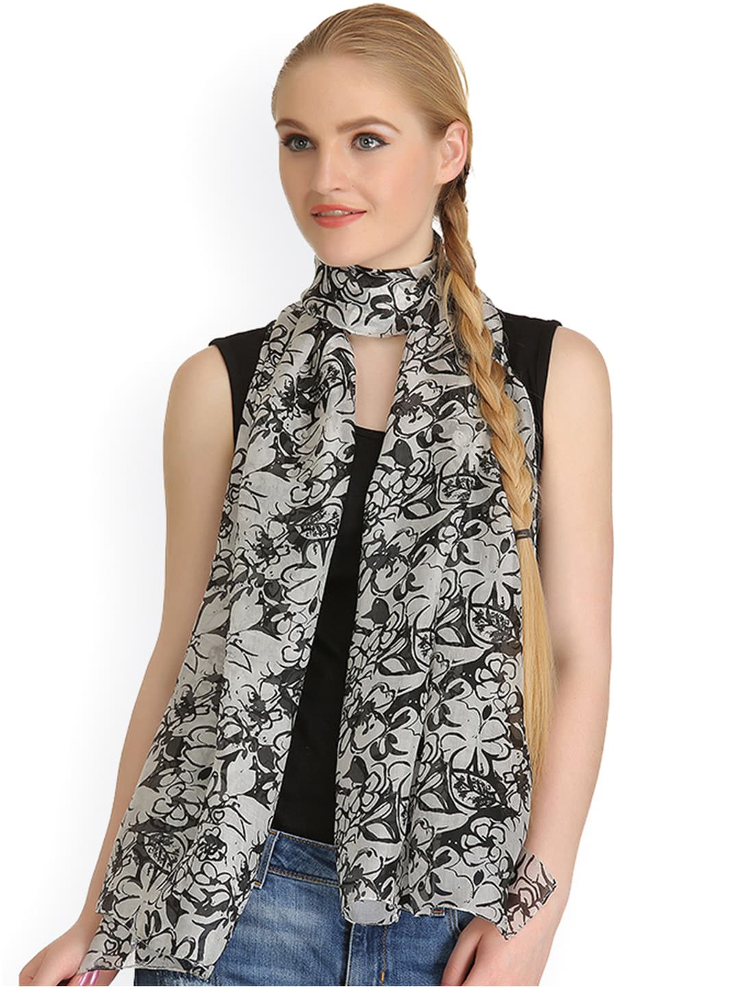 CoolThreads Off-White & Black Floral Print Silk Stole