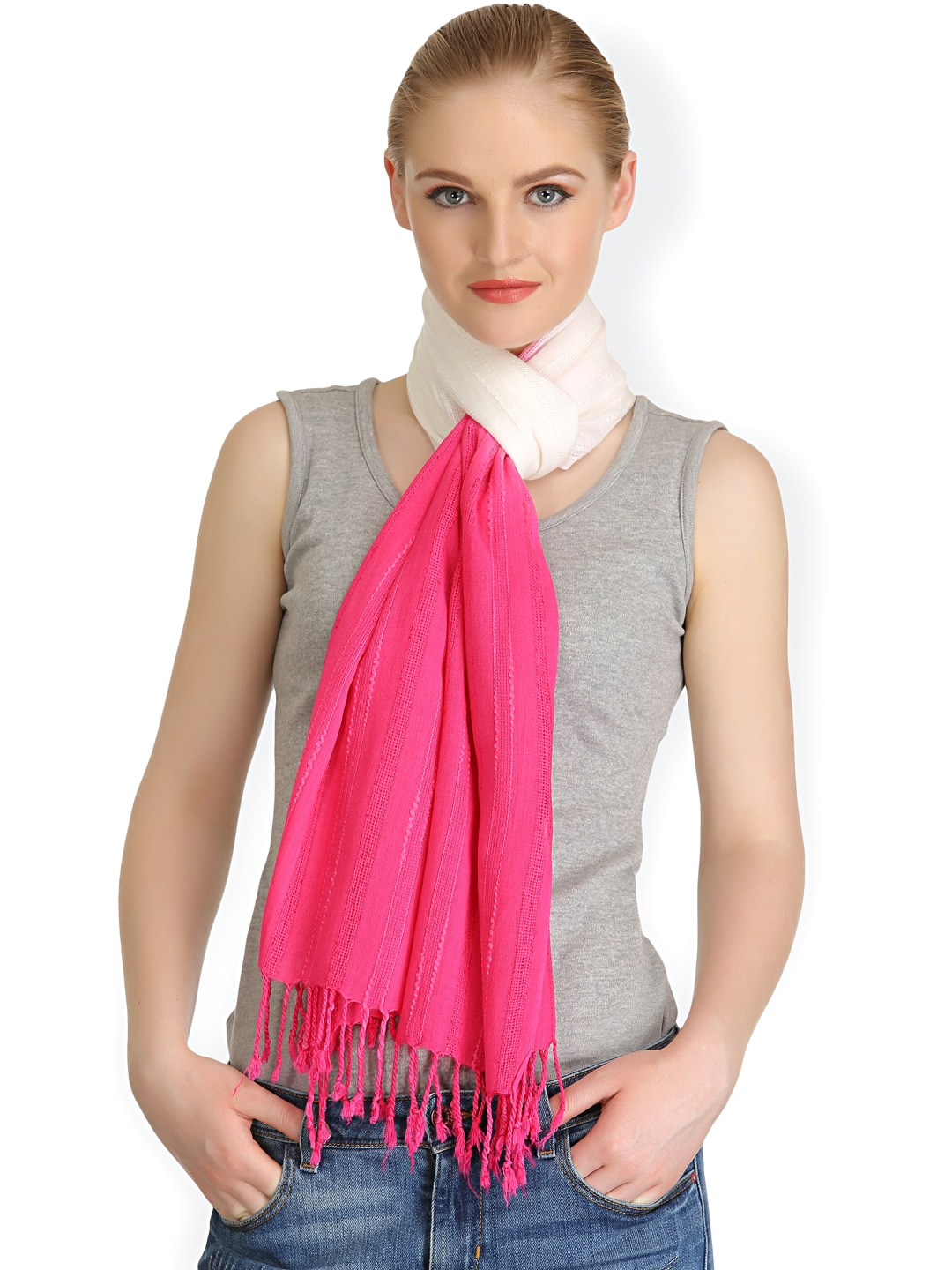 CoolThreads Women Pink & White Stole