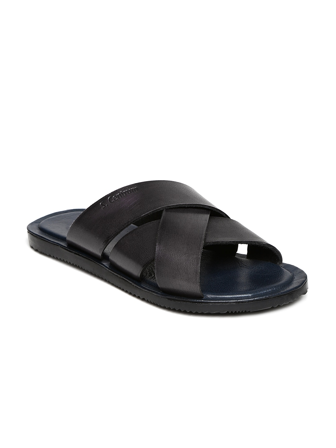 Style Centrum Men Black Leather Sandals