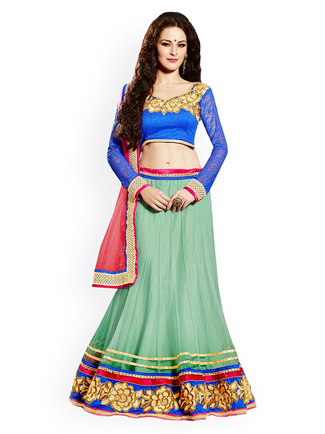 Touch Trends Green & Blue Net Semi-Stitched Lehenga Choli Material with Dupatta