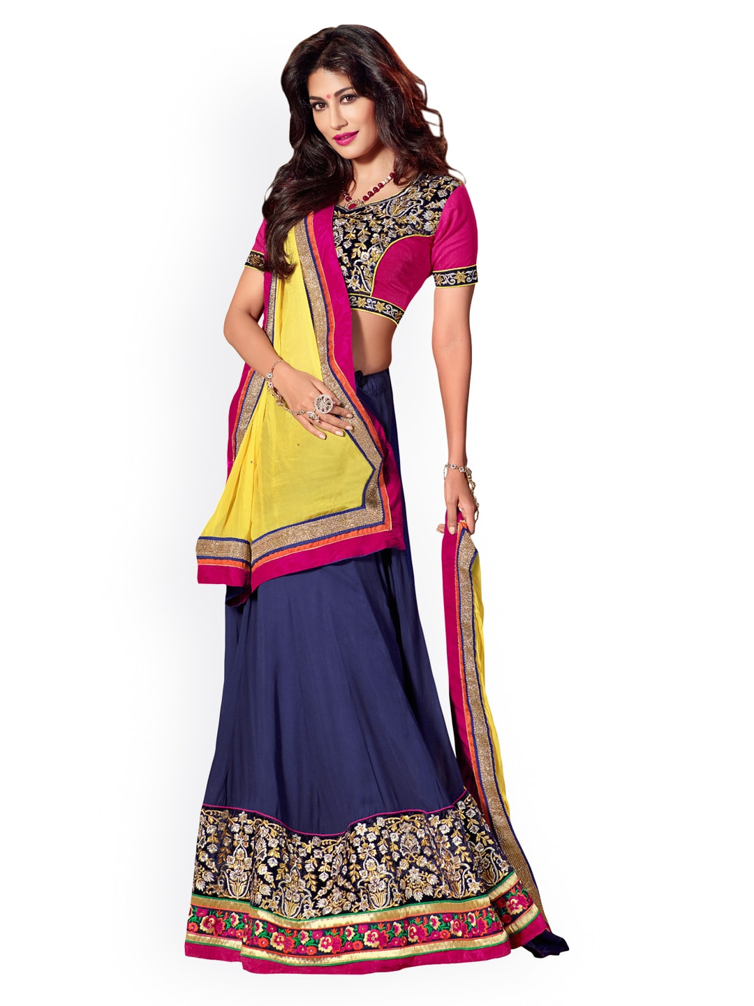 Touch Trends Pink & Navy Faux Georgette Semi-Stitched Lehenga Choli Material with Dupatta