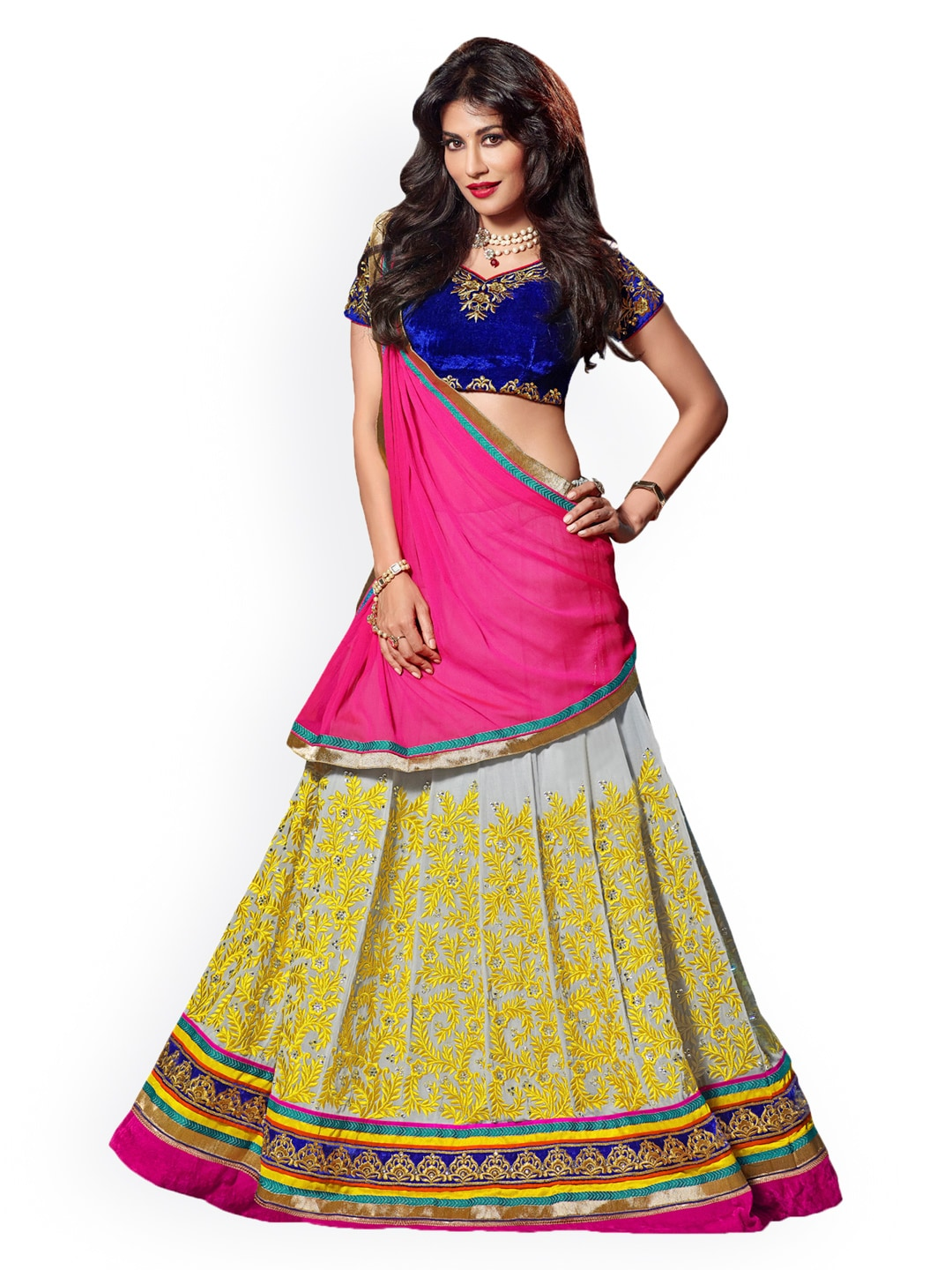 Touch Trends Grey & Blue Faux Georgette Semi-Stitched Lehenga Choli Material with Dupatta