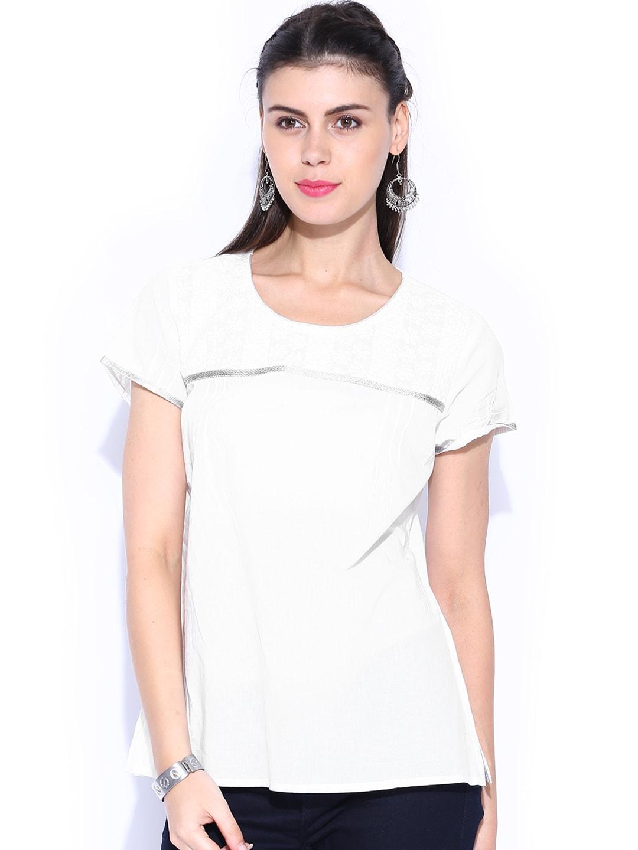 Shraddha Kapoor for IMARA White Schifli Embroidery Top