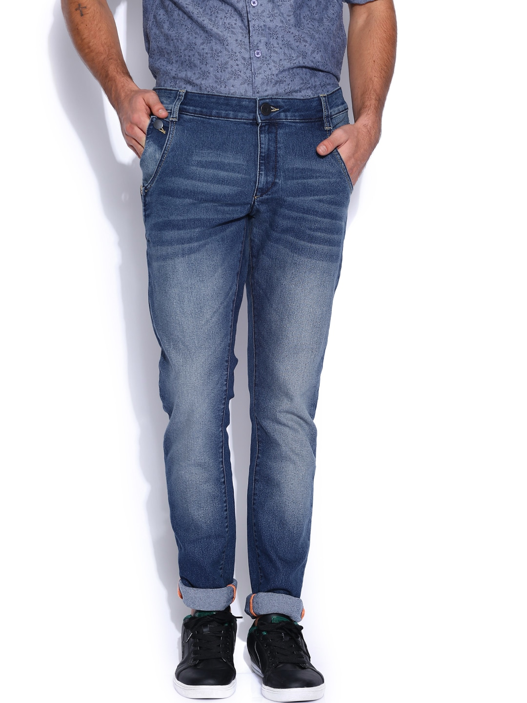 John Players Blue Low-Rise Super Skinny Fit Jeans