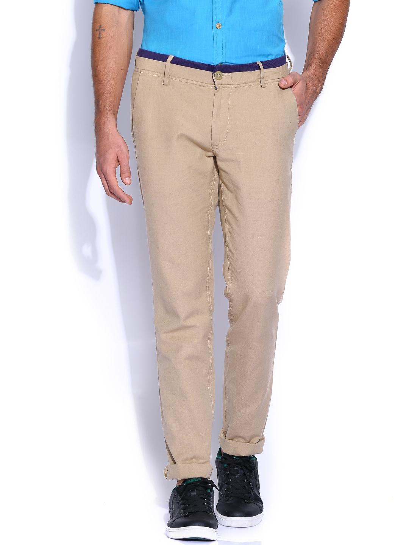 John Players Beige Low-Rise Slim Fit Linen Trousers
