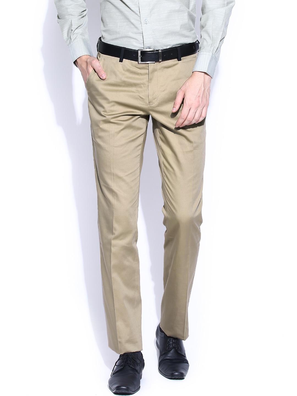 John Players Beige Slim Fit Formal Trousers