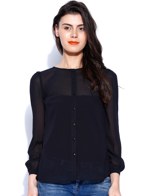 ONLY Black Sheer Shirt