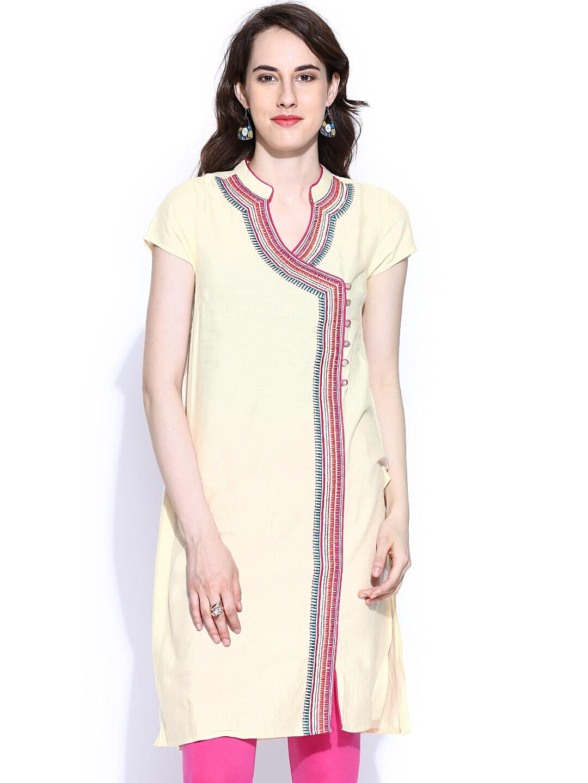 People Cream-Coloured Embroidered Kurta