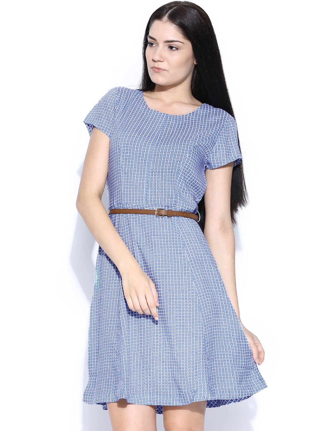 United Colors of Benetton Blue & Off-White Printed Fit & Flare Dress