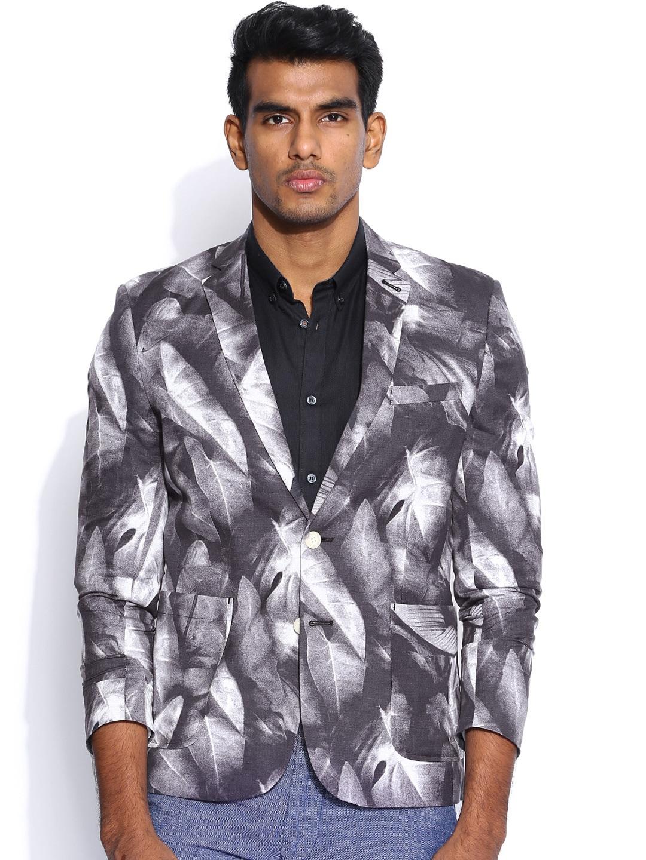 Jack & Jones Grey & White Printed Blazer