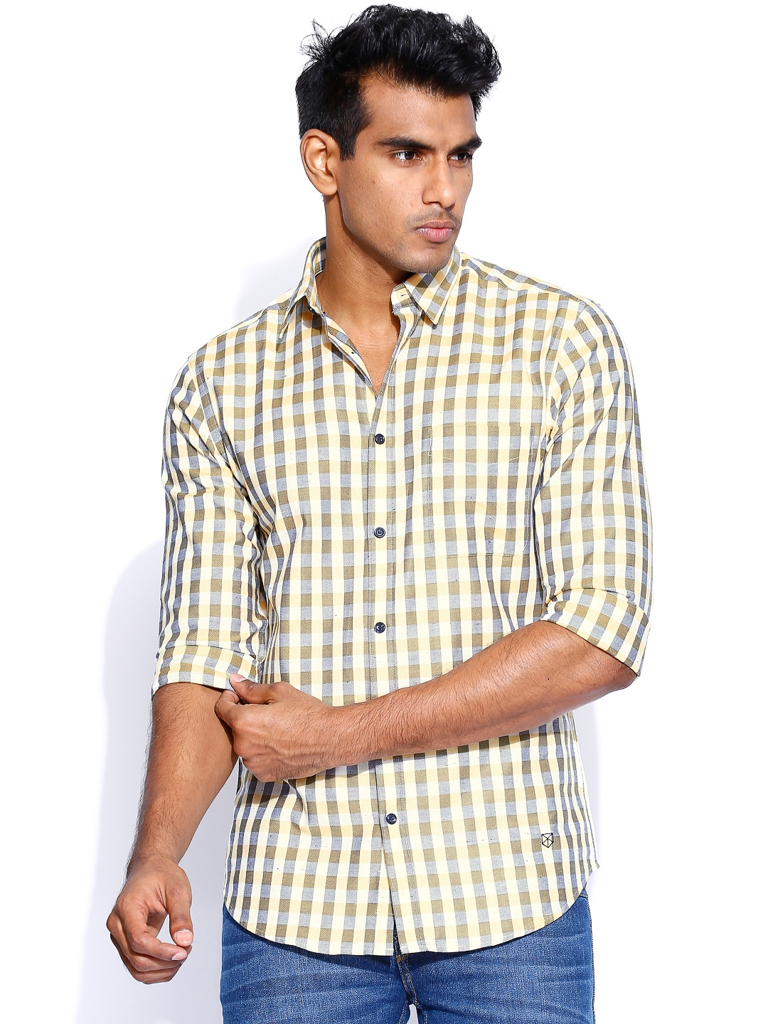 Jack & Jones Yellow & Grey Marsh Checked Slim Casual Shirt
